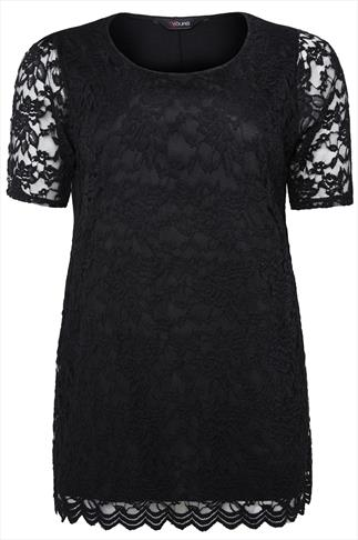 Black Stretch Floral Lace Front Top With Scalloped Hem
