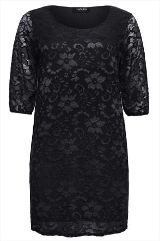 Black Floral Stretch Lace Shift Dress With 3/4 Sleeves