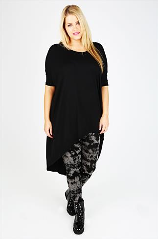Black Oversized Top With Extreme Dipped Hem