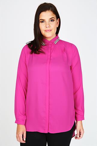 Pink Chiffon Shirt With Jewelled Collar