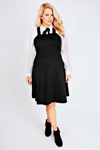 Black Ponte Skater Pinafore Dress With Pockets