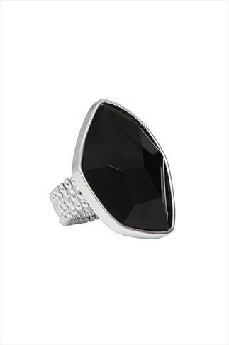 Black Oversize Irregular Stone Stretch Ring