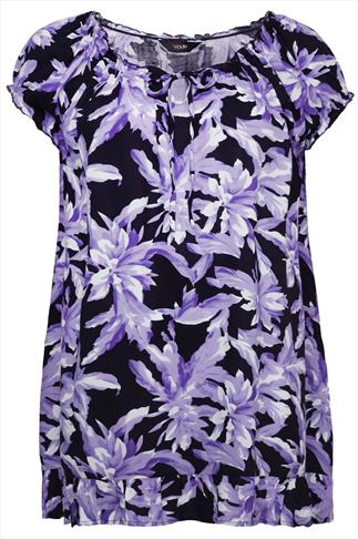 Purple And Black Floral Print Longline Top With Frill Hem