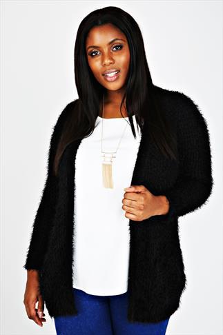 Black Eyelash Knitted Cardigan With Pockets
