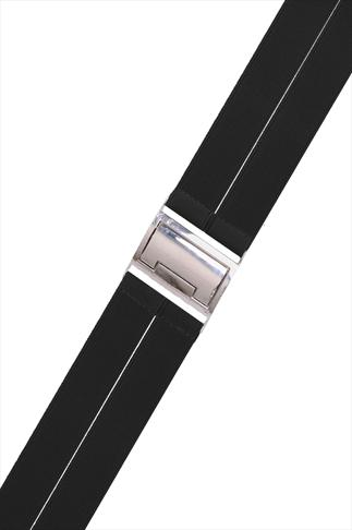 Black Stretch Waist Belt With Silver Clasp
