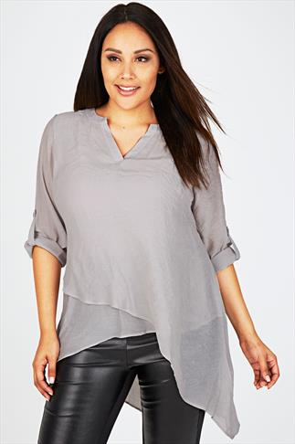 Light Grey Notch Neck Silky Layer Blouse