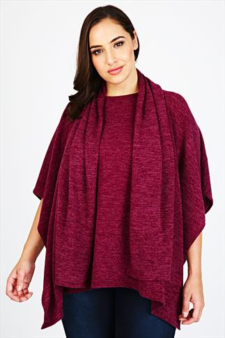 Berry Pink Fine Knit Cape With Attached Scarf