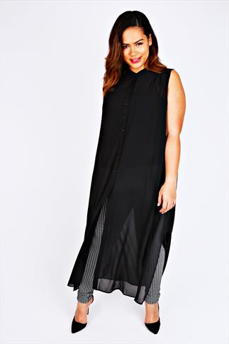 Black Maxi Length Button Down Sleeveless Shirt