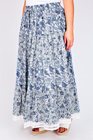 Blue & White Floral Mix & Match Gypsy Maxi Skirt With Crochet Trim