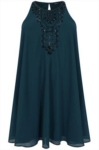 Teal Chiffon Sleeveless Swing Dress With Black Embellishment