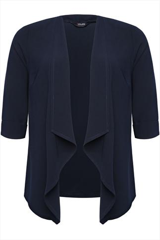 Navy Edge To Edge Waterfall Crepe Jacket