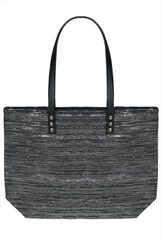 Black Paper Straw With Metallic Thread Beach Bag
