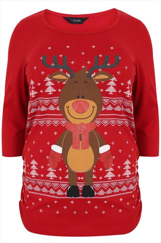 Red Reindeer 3/4 Sleeve Cotton Top With Ruched Side Detail