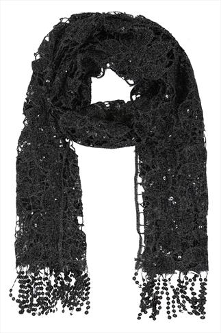 Black Lace & Silver Sequin Detail Scarf