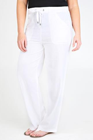 """White Linen Mix Full Length Trousers With Four Pockets 30"""""""