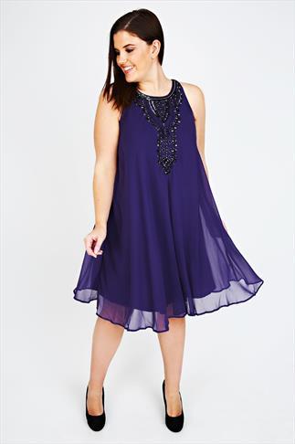 Purple Chiffon Sleeveless Swing Dress With Black Bead Embellishment