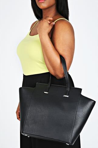 Black Leather Look Large Structured Shopper Bag