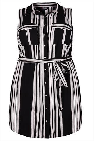 Black & White Striped Sleeveless Longline Shirt With Side Slits
