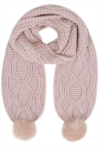 Pale Pink Knitted Scarf With Faux Fur Pom Poms