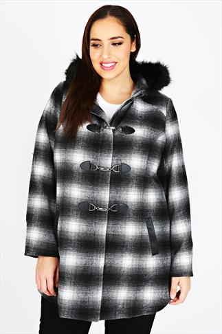 Black & White Checked Coat With Faux Fur Hood