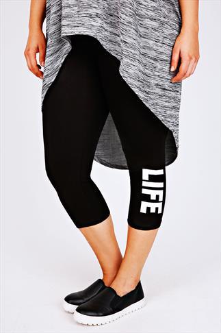 Black Cotton Elastane Cropped Leggings With 'Life' Slogan Print