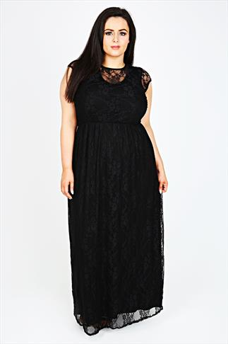 Black Jersey Maxi Dress With Lace Overlay