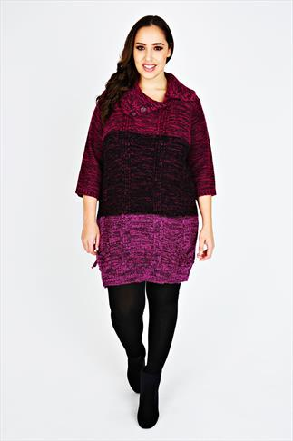 Magenta Tonal Block Stripe Knitted Tunic Jumper With 3/4 Length Sleeves
