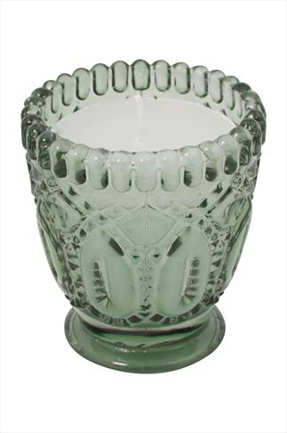 Wax Candal In Green Embossed Cup