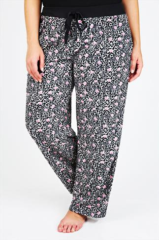 Pink & Black Animal Print Fleece Pyjama Bottoms