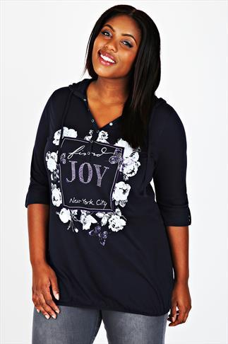 Navy 'Find Joy' & Floral Print 3/4 Sleeve Hooded Top