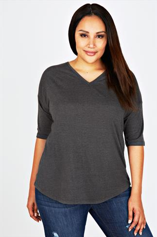 Grey Marl Long Sleeved Drop Shoulder Sleeved T-shirt