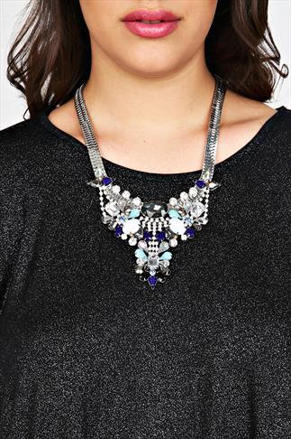 Navy Blue & Multi Stone Embellished Statement Necklace