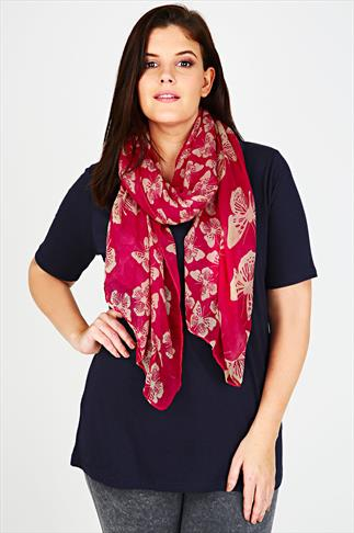 Pink & Cream Butterfly Print Scarf