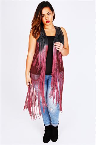Black & Pink Ombre Sheer Longline Shrug With Fringing