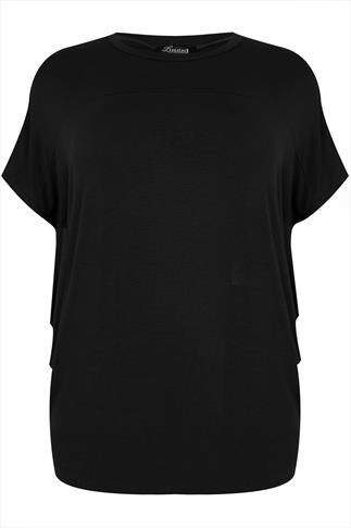 Black Short Sleeve Drop Shoulder Top