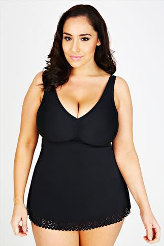 Black Cut Out Detail Swimdress With TUMMY CONTROL
