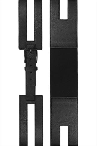 Black PU Cut Out Wide Waist Belt With Elasticated Band