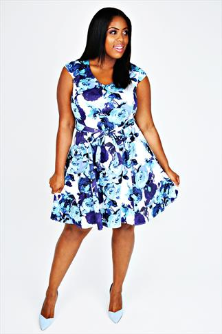 White & Blue Floral Print Fit & Flare Dress