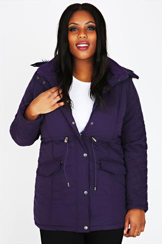 Purple Diamond Quilted Parka With Fur Trim Hood