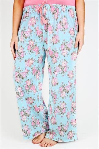 Blue And Pink Vintage Floral Print Cotton Pyjama Bottoms