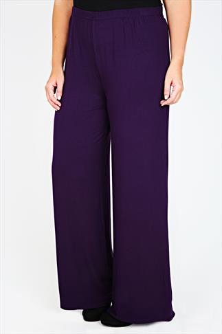 Purple Jersey Palazzo Trousers