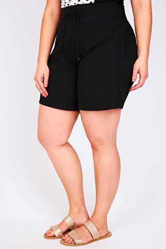 Black Board Shorts With Drawstring Waist
