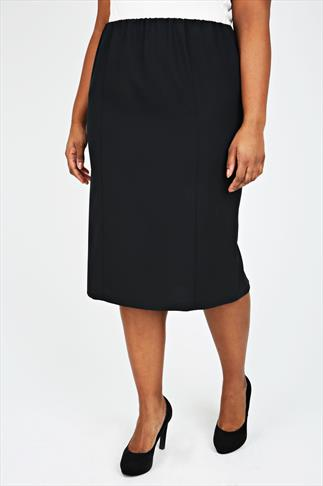 Black Pull On Bi-Stretch Panelled Midi Skirt - PETITE