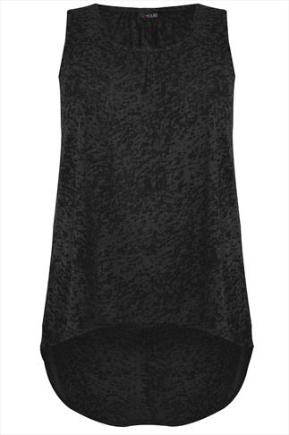 Black Sleeveless Burn Out Top With Dipped Hem
