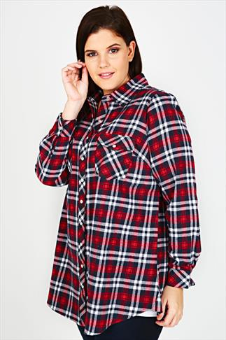 Navy & Red Checked Popper Button Boyfriend Shirt With Pockets