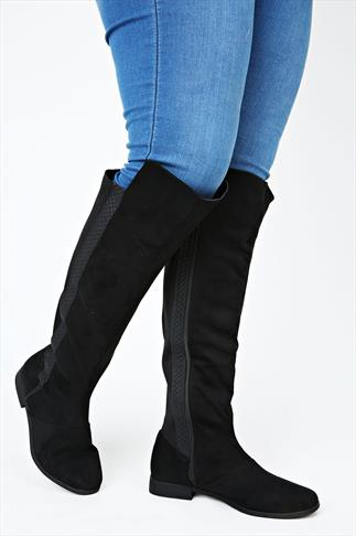 Black Knee High Stretch Microfibre Boot In EEE Fit
