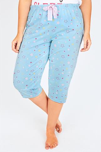 Light Blue Star Print Cropped Pyjama Bottoms