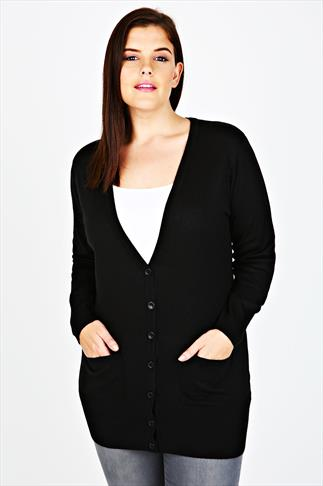 Black Super Soft Boyfriend Cardigan With Pockets