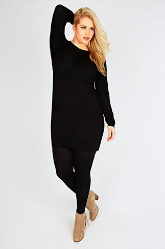 Black Knitted Tunic Dress With Pocket Detail