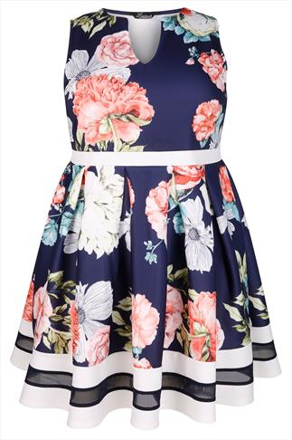 Navy & Pink Floral Print Mesh Stripe Skater Dress